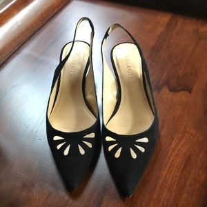 Talbots black suede sling backs with cutout detail